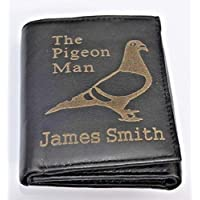 HOMING RACING PIGEON WALLET PERSONALISED GIFT ENGRAVED WITH ANY NAME GENUINE LEATHER