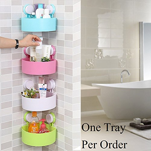 Woogor Plastic Inter Design Bathroom Kitchen Organize Shelf Rack Triangle Shower Corner Caddy Basket With Wall Mounted Suction Cup.Random Color