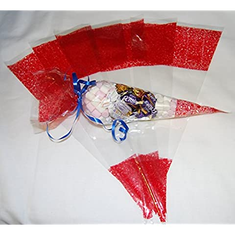 Pack of 100 - Red Pattern Clear Party Bags - Cone Cellophane Display Bags - 45 micron - 14.5