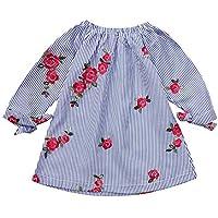 Ropa Bebe niña,(6M-3T) Vestido de Princesa Vestido de Flores Bordado a Rayas de Manga Larga para niños