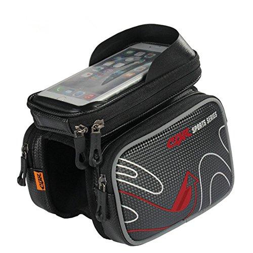 """Wasserabweisende Fahrradrahmentasche & Handyhalterung, geeignet für Handy mit Größe unten 5,7"""" Lenkertaschen rot"""