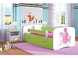 Kocot Kids Kinderbett Jugendbett 70x140 80x160 80x180 Grün mit Rausfallschutz Matratze Schublade und Lattenrost Kinderbetten für Mädchen und Junge - Prinzessin auf dem Pony 180 cm