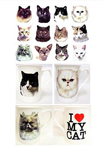 I love my Cat Becher schwarz Katze Tasse I Love my creme und Orange Cat Bone China Tasse Hand-dekoriert in Großbritannien) Dunkelviolett -