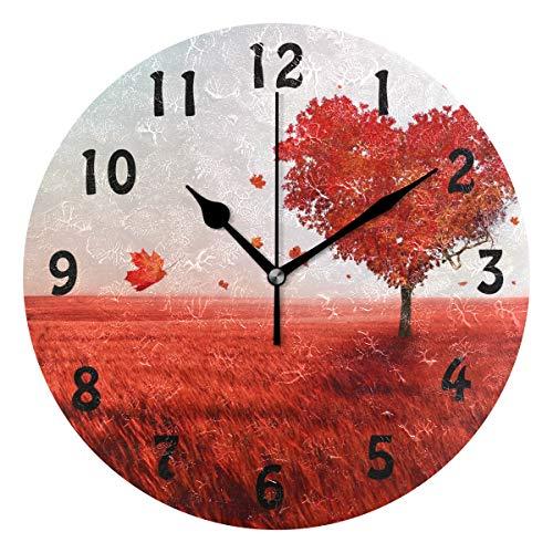 DOSHINE Wanduhr, Baum der Liebe, Herbstblätter, geräuschlos, Nicht tickend, für Schlafzimmer, Wohnzimmer, Küche -