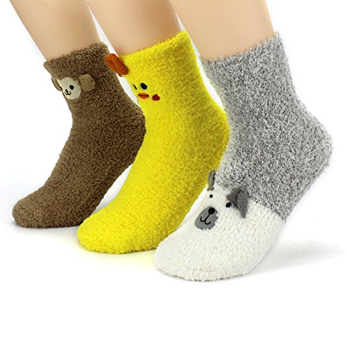 Owl Cute Kostüme Baby (Waymoda 3 Pairs Cartoon Animal Fluffy Slipper Socks, Chunky Ankle Terry Cotton Soft Warm Thermal Bed Lounge Socken, Cute Novelty 3D Chicken/Monkey/Bear Pattern, Women/Lady/ Girls EUR)