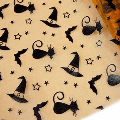 Halloween-Tisch-Läufer /Tisch-Deko in orange & schwarz mit Katzen Hexen-Hut & Fledermaus / Breite 28cm Länge 5 Meter / Halloween-Deko Halloween-Party Tisch-Läufer Tisch-Decke