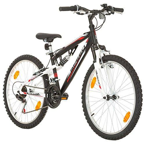 24 Zoll Speed EU-PRODUKT Fully Jugend Fahrrad jungenfahrrad Rad Bike Cycling Damenfahrrad Kinderfahrrad Kinderrad Full Suspension Mädchenfahrrad Mountainbike MTB, Rahmen 31 cm, 18-GANG