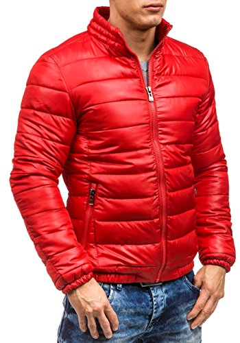 BOLF Herren Winterjacke Sweatjacke Steppjacke Herrenjacke Jacke Mix 4D4 Kapuze Rot_4002