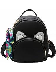 las Mujeres Hombro Golpeó el Color bufandas pequeñas mochila de la moda bolsas de la universidad de viaje Simple Negro