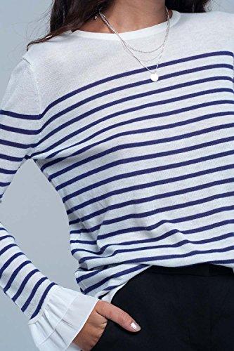 Q2 Camisa Blanca A Rayas Violeta, Chemise Femme Violet (Purple)
