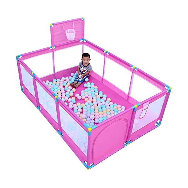 Pink Large Baby Playpen - Portable Infant Toddler Security Fance ,10-Panel Twins Ocean Ball Pool (Size : Playpen+200ball) Playpens  3