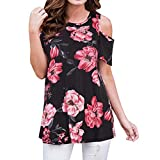 Summer Blouse Short Sleeves Tunic Cold Shoulder Tops Shirts for Women Casual Loose Floral Printed Crew Neck Tee T-Shirt Red