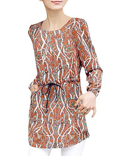 Lady's à manches longues en mousseline Motif cachemire Taille avec cordon de serrage Tunique pour femme Multicolore - Orange Red