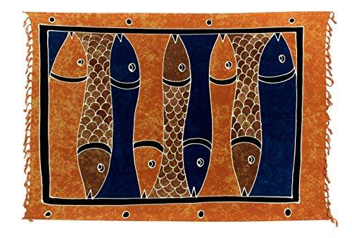 ... Pareo Dhoti Lunghi Fisch Orange Blau Braun Batik. Sarong ca. 170cm x  110cm Handbemalt inkl. Sarongschnalle im Schmetterling Design - Viele  exotische
