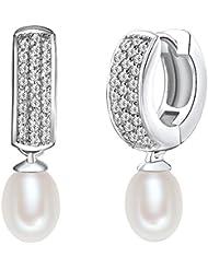 Valero Pearls - Créoles avec fermetures à charnière - Perles de culture d'eau douce - Argent sterling 925 - Bijoux de perles oxyde de zirconium, boucles d'oreilles oxyde de zirconium - 60925048