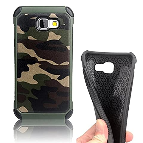 Vandot Slim Hybrid Galaxy A5 (2016) Case, [Camo Series] Rigid Hard PC Back with Internal Soft TPU Silicone Back Cover Dual Layer [Shock-absorbing] High Impact Army Camouflage Armor Defender Case for Samsung Galaxy A5 (2016) SM-A510F - Forest Green