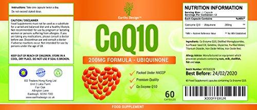Coenzym Q10 200 mg – CoQ10-Nahrungsergänzungsmittel – Hochdosiertes CoQ10 – 60 Kapseln (30 Tage Vorrat) von Earths Design - 4