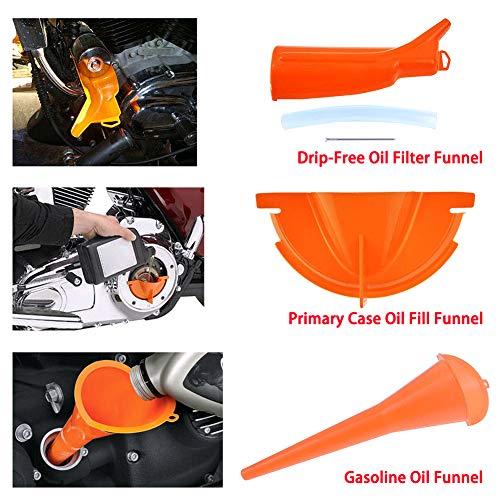 YOUNG4 3X tropffreier Ölfilter-Trichtersatz Ölwechsel-Kit Ersatz für Harley Touring Motorräder, Orange