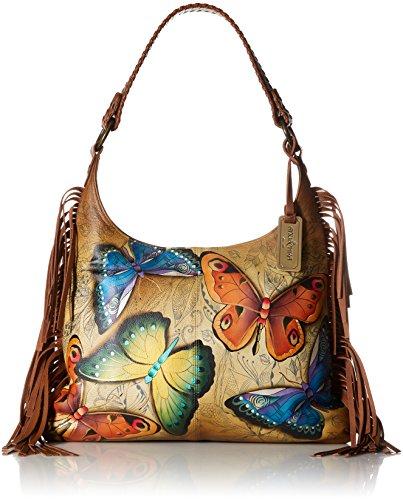 Anuschka handbemalte Ledertasche, Mode Schultertasche für Damen, Geschenk für Frauen, Handgefertigte Taschen mit Fransen, Große Hobo Handtasche (Earth Song 586 EST) -