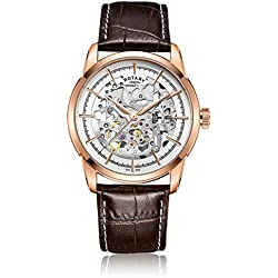 Rotary Men's Automatic Watch with White Dial Analogue Display and Brown Leather Strap GS00656/06