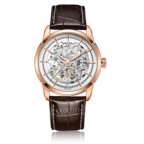 Rotary-Mens-Automatic-Watch-with-White-Dial-Analogue-Display-and-Brown-Leather-Strap-GS0065606