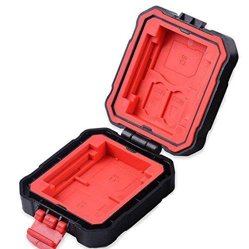 flashwoife Turtle-SD3MSD2CF2XQD2R spritzwassergeschütze Speicherkarten Schutzbox für 3 Stück SDHC und 2 Stück MicroSD und 2 CF and 2 XQD Cards Case in schwarz mit rotem Inlay