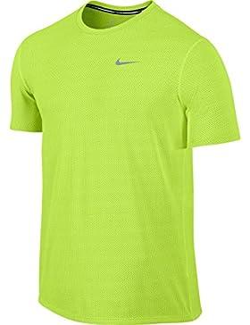 Nike Dri-Fit Contour Ss Maglia da Running, Volt/Reflective Silver, S