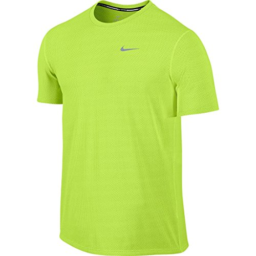 Nike Herren Oberbekleidung Dri Fit Contour Shortsleeve, neongelb, XL, 683517-702 (Top Nike-loose-training)