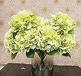 Jooks Künstliche Hortensie 5Köpfe Blumenstrauß Blume Seidenblumen Blume Hortensie Fake Simulation Pflanze für Hochzeit Brautschmuck Party Home Dekoration Hellgrün