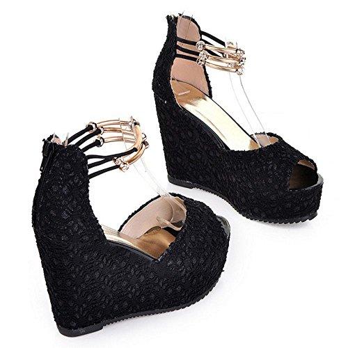 RAZAMAZA Femme Elegant Talon Compense Sandales Sangle De Cheville Peep Toe Perle Chaussures Noir