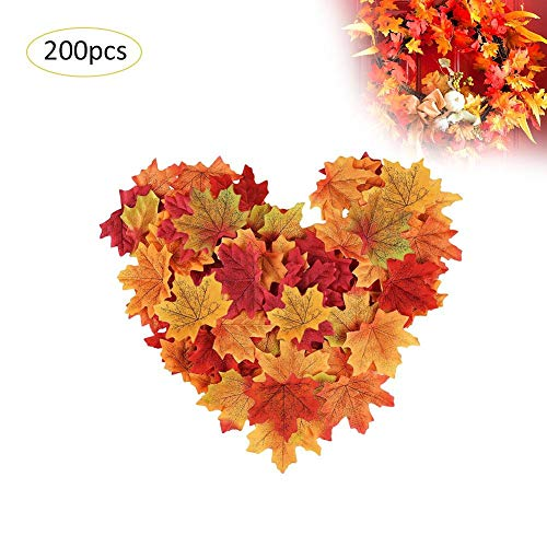 200 Stück künstliche Maple Leaf Silk Leaves Mixed Color Simulation Autumn Leaves for Halloween Thanksgiving Decor Wedding Photo Scene Props