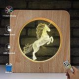 EFGS Lampe Visuelle 3D Illusion Optique LED Night Light Amazing 7 Couleurs Unicorn Forme Lampes, Charge USB pour Home Decor