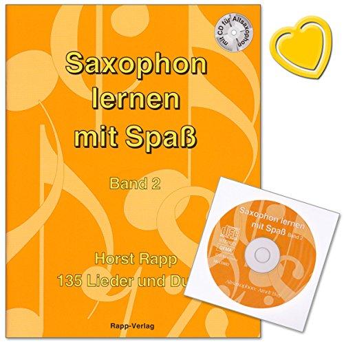 Saxophon lernen mit Spaß Band 2 von Horst Rapp - 135 Lieder und Duette mit CD und bunter herzförmiger Notenklammer