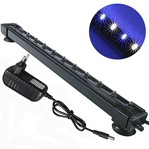 Mingdak LED Aquarium-Licht-Kit für Aquarium, Unterwasser-Tauchkristallglas-Leuchten, geeignet für Salzwasser und Süßwasser, 12 Leds, 12,5-Zoll, Beleuchtungsfarbe weiß und Blau