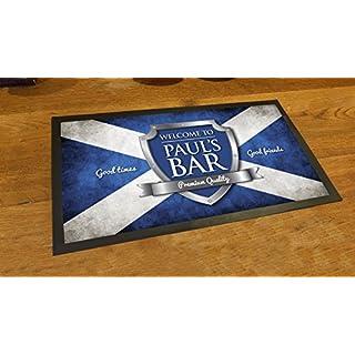 Artylicious Fußmatte mit der schottischen Flagge, personalisierbar, für die Bar oder Kneipe
