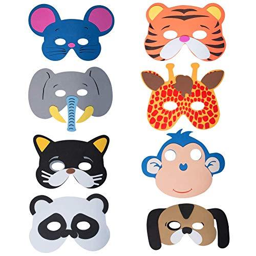 Werbewas 8er Set Schaumstoff Masken mit verschiedenen Tiermotiven - Dschungel - als Karnevals, Halloween, Geburtstags-Party ()