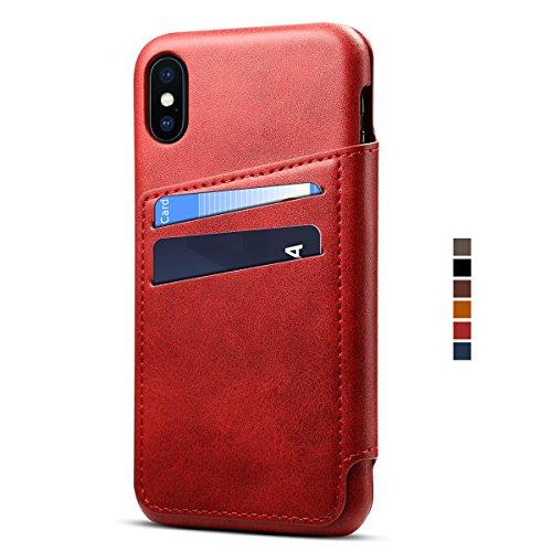 Apple iPhone X Leder Handy Hülle Flip Case Handytasche Cover Schale mit Kredit Karten Fach Geldbörse Geldklammer Leder Handy Schutzhülle,Rot