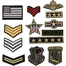 Bella 13pcs Parch Apliques Patches Sticker Parche Termoadhesivo Militar Estilo Insignia Badge Estrella Bandera Nacional Bordado