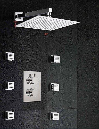 gaobath 25,4cm Regen und Wasserfall Dusche Kopf und Spray Jet Dual Thermostat Badezimmer Dusche Wasserhahn Set (Dual Dusche Regen Kopf)