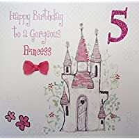 WHITE COTTON CARDS Happy Gorgeous, Handmade 5th Birthday Card (Princess Castle, Age 5)