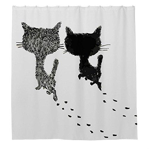 rioengnakg Cute Schwarz Cat und Paw Prints Wasserdicht Polyester Duschvorhang, #1, 48
