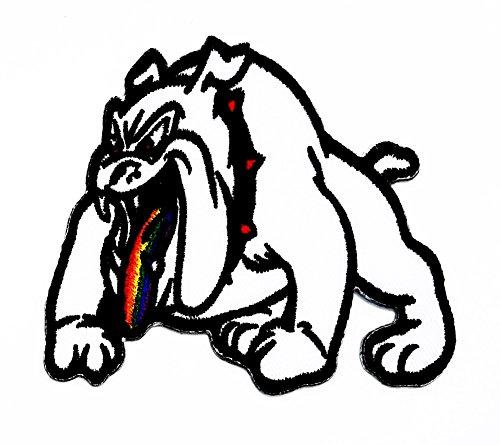 rabana weiß Pitbull Bulldog Hund Pet Zunge Rainbow Cartoon Kids Kinder Cute Animal Patch für Heimwerker-Applikation Eisen auf Patch T Shirt Patch Sew Iron on gesticktes Badge Schild (In Kostümen Bulldogs Lustigen)