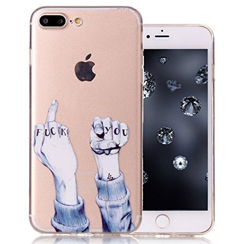 "Aeeque® Ultra Mince Coque de Protection TPU Silicone Case pour Téléphone Portable iPhone 8 Plus Anti Rayure Rose Motif Design Anti Choc Bord Cristal Housse pour iPhone 7 Plus/ iPhone 8 Plus 5.5"" B - Fuck you"