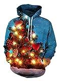 Uideazone Juniors Print Weihnachtsbaum Kapuzen-Sweatshirt Xmas hässliche Pullover Hoodie blau
