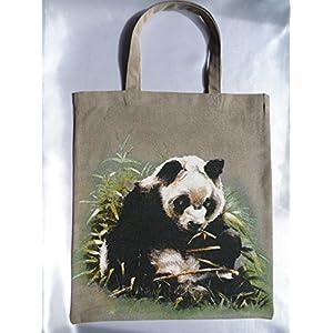 Panda Stoff Tasche / Umwelt Beutel Tier Motiv Druck / 100 % Baumwolle / genäht in Deutschland / braun - beige