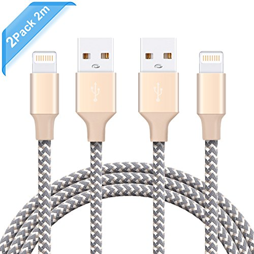 iPhone Cable Ulinek iPhone Charger Lightning to USB Apple Cable 2 Pack 2m Ultra Durable Nylon Braided Cable High Speed Transmission Lifetime Warranty Apple Cord for iPhone 7 Plus 6S Plus 6 Plus SE 5S 5C 5, iPad 2 3 4 Mini, iPad Pro Air, iPod - Champagne Test