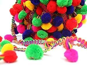 832e492e41 Pom Pom Trim, 53 Yards+ 2 Yards Free Multi Color Pompom lace, Scarf ...