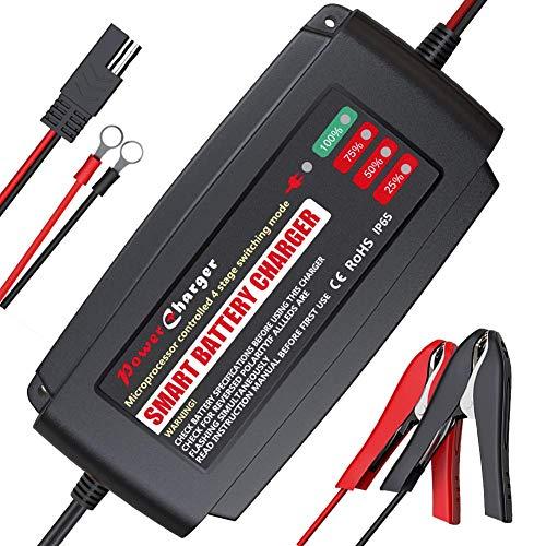 BMK 12V 5A Intelligentes Ladegerät Vollautomatisches Ladegerät Tragbare Batterie Ladegerät Abnehmbarer Krokodilklemme, Schnelles Ladegerät Wasserdichte Motorrad Batterie Autobatterie