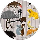 Merryfull Dekorative Wanduhr Big 9,8 'Zoll Australien Wilde Tiere Cartoon Natur Charaktere Flachen Stil Säugetier Sammlung Große Runde Uhren