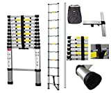 Todeco - Echelle Telescopique, Échelle Pliable - Charge maximale: 150 kg - Nombre de marches: 11-3,2 mètre(s), Sac de transport OFFERT, Écart supplémentaire, EN 131-6